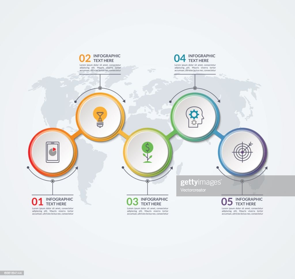 Timeline Design Infographic Timeline Design Template Of 5 Circular Elements On The