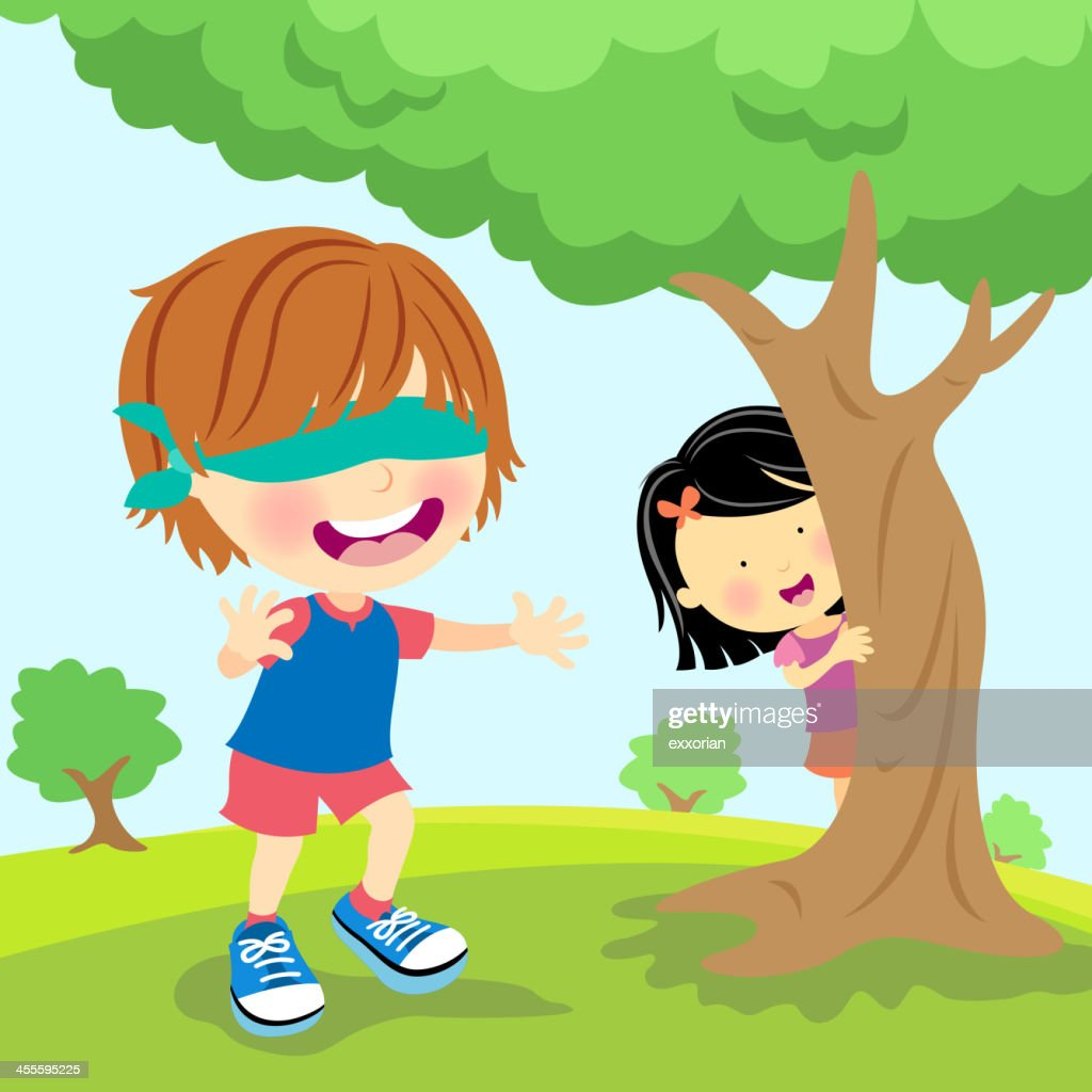 Hide And Seek Kids Kids Palying Blindfold Hide And Seek Stock Vector Getty Images