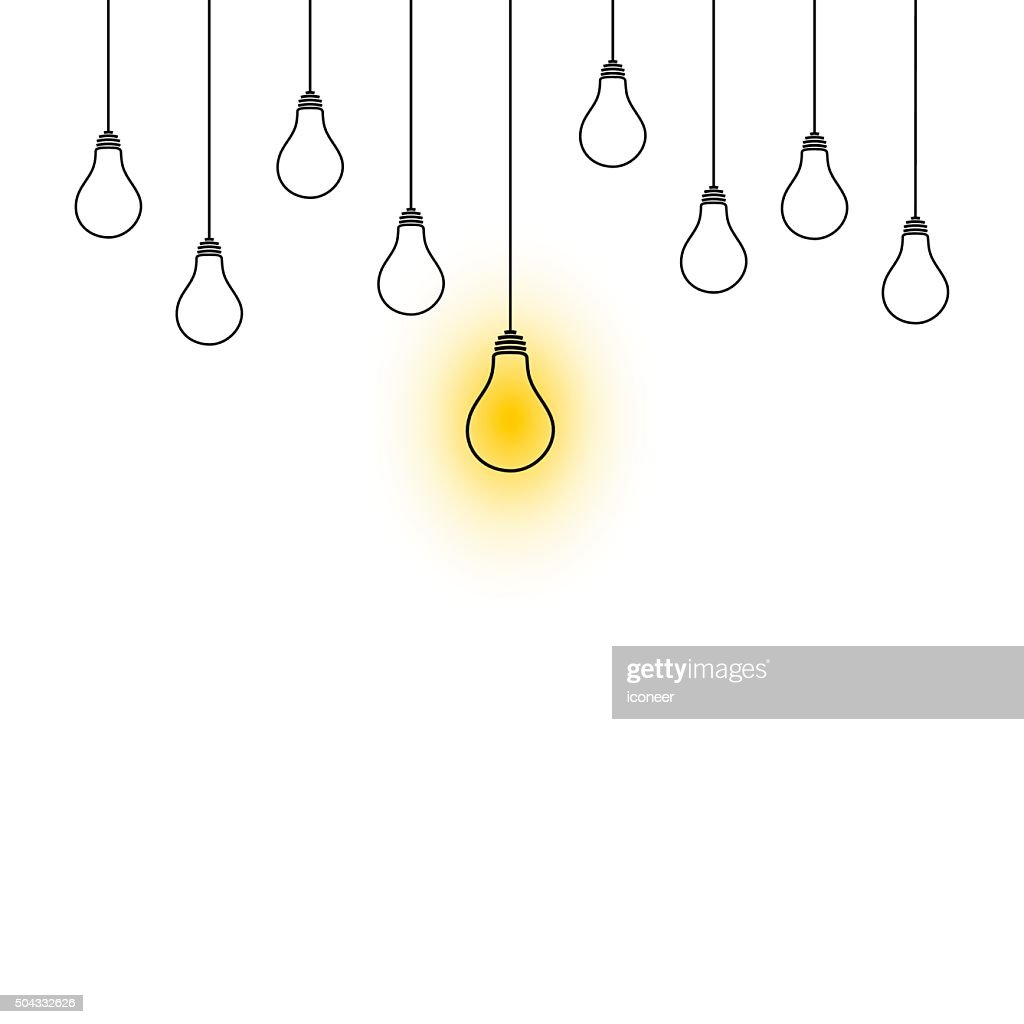 Hanging Lamp Logo Light Bulbs Hanging Down Illustration On White Background