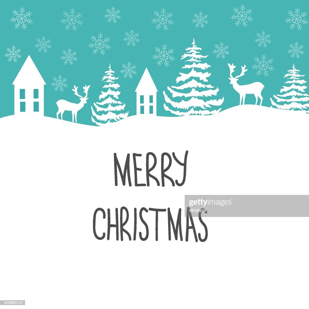 Lettrage Decoratif Merry Christmas Greeting Card Blanc Rennes Sapins Snow Flakes