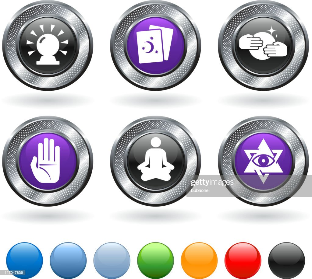 Essteller Set Psychic Fortune Teller Vector Icon Set On Metallic Button Stock
