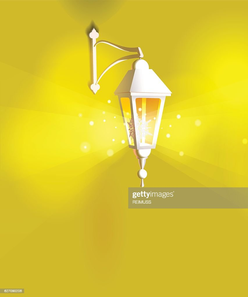 Glass Lamp Vector Street Lanterns Shining Hanging Glass Lamps Warm Yellow
