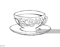 Tea Cup Black And White Vector Art   Thinkstock