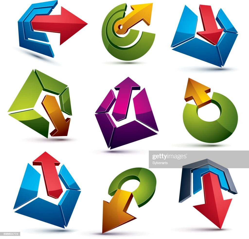 Corporate Graphic Design Vector 3d Abstract Icons Set Simple Corporate Graphic Design