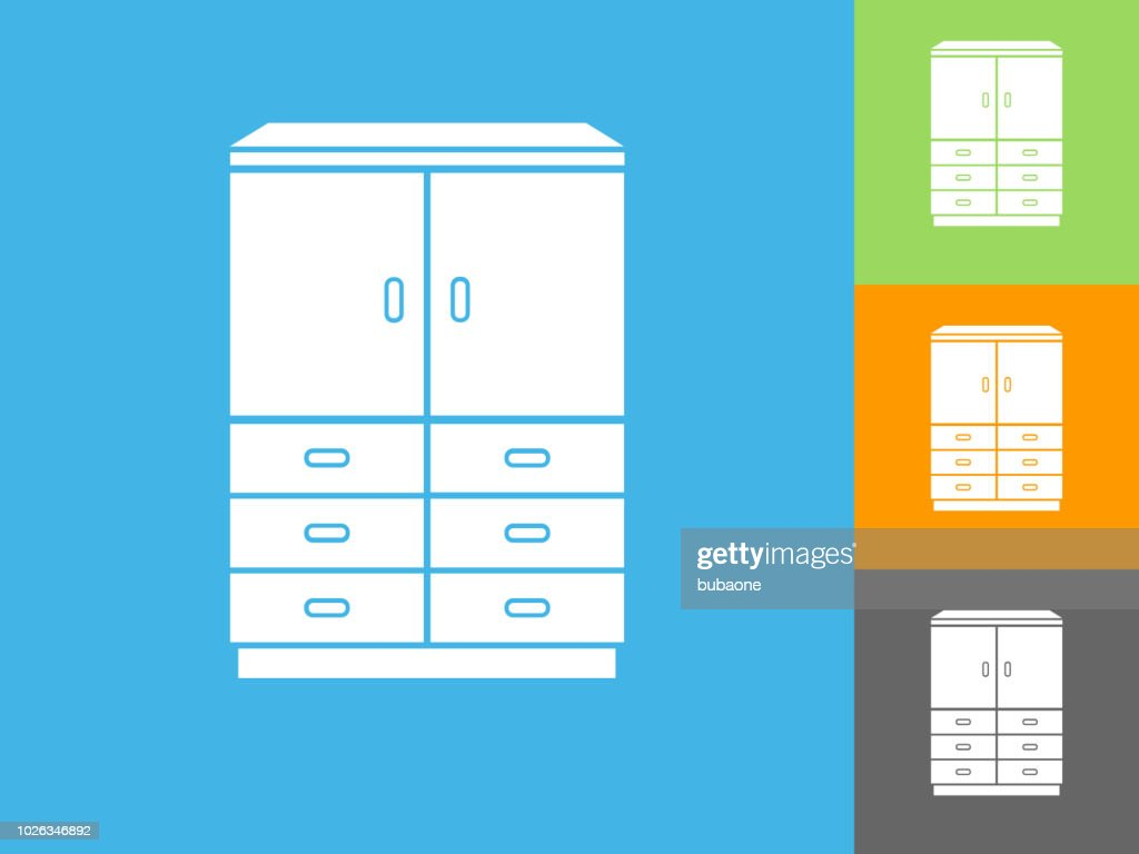 Filing Cabinet Icon Flat Wardrobe Cabinet Flat Icon On Blue Background Vector Art Getty