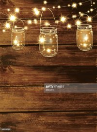 Wooden Background With Jar And String Lights Vector Art ...
