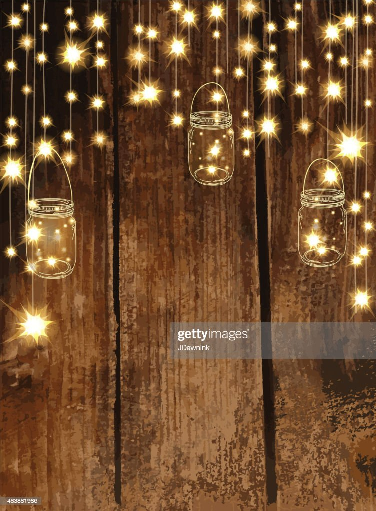 Fall String Lights Wallpaper Weddings Clipart Wooden Background With Jar And String Lights Vector Art