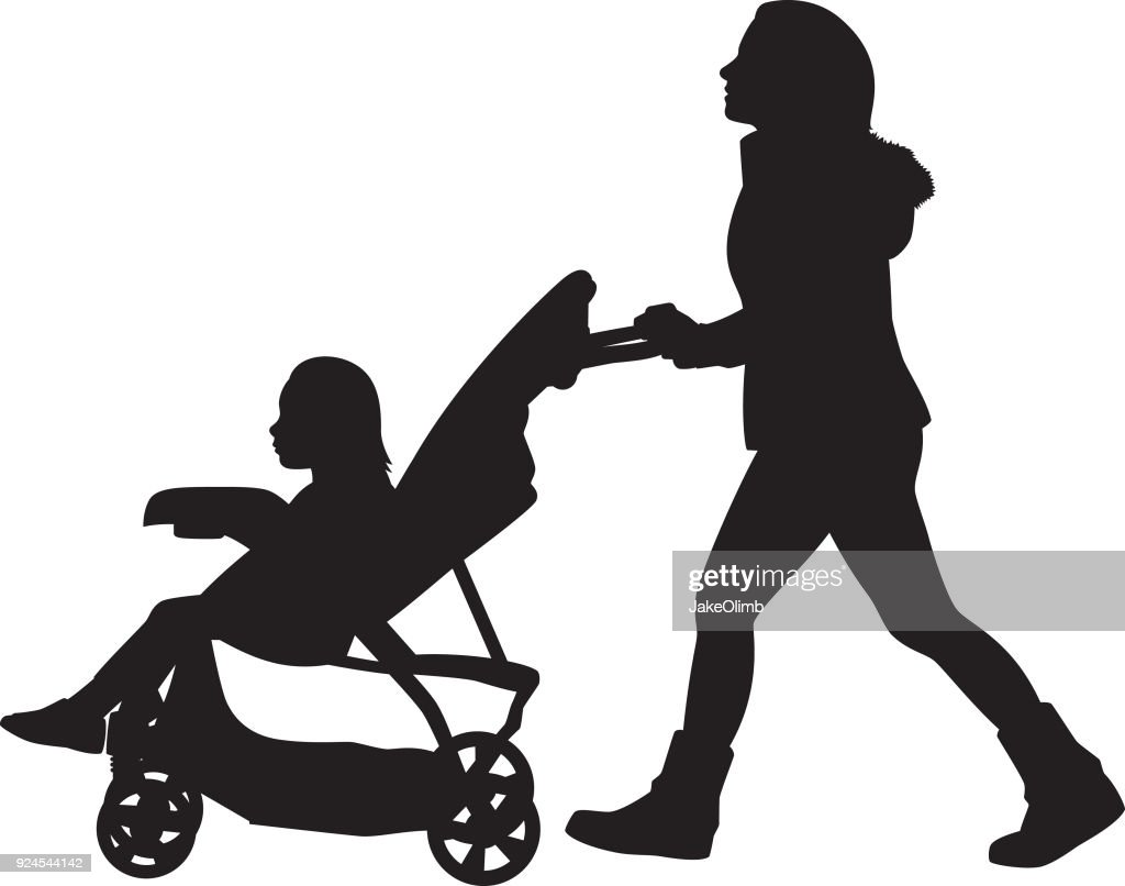 Baby Pushing Pram Youtube Young Woman Pushing Stroller Silhouette High Res Vector