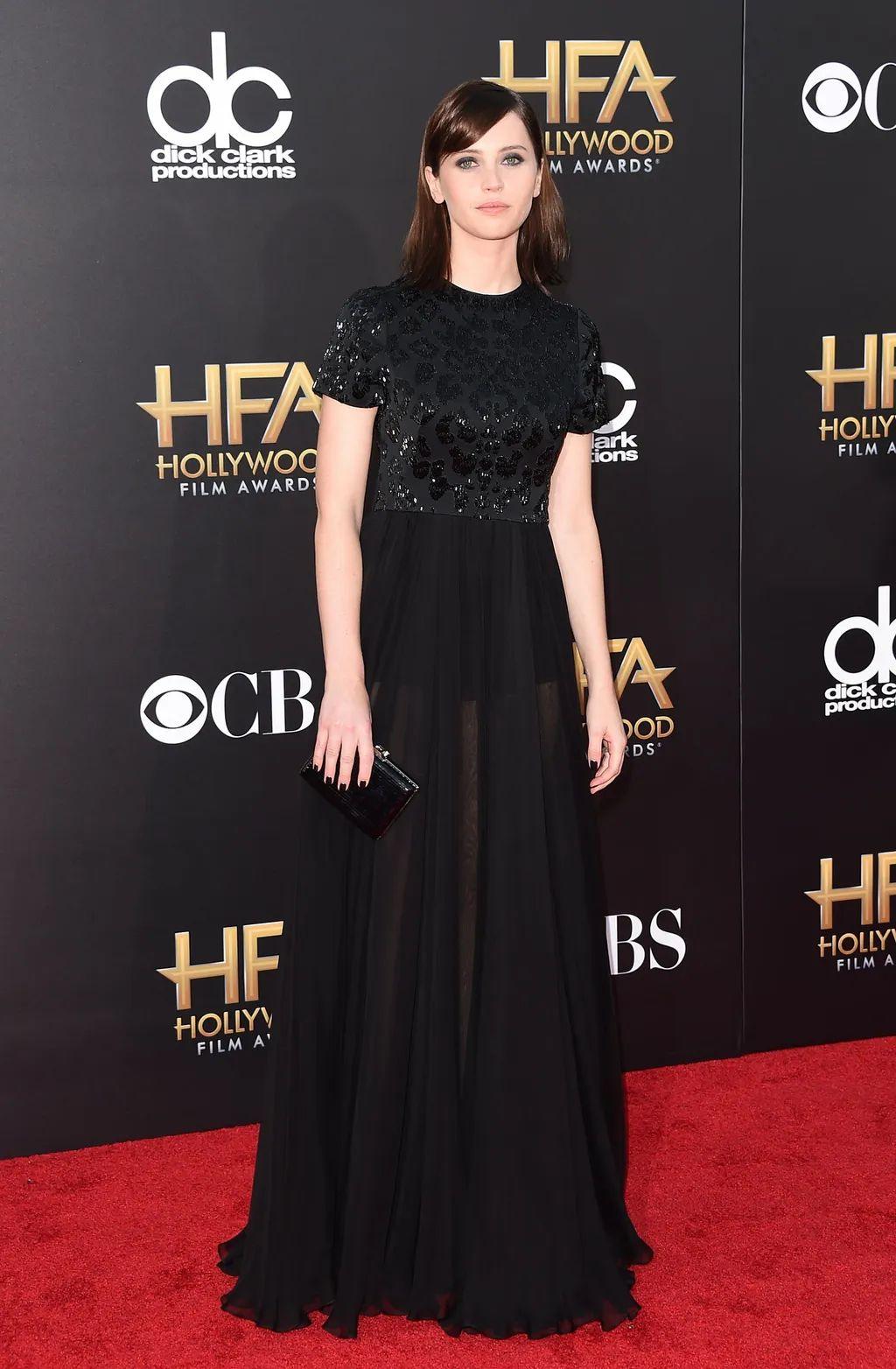 Felicity jones black dress hollywood film awards 2014