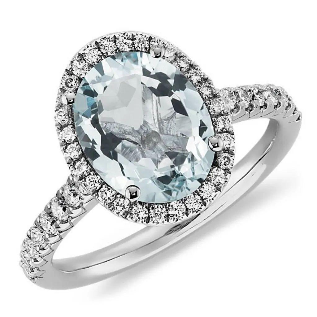 aquamarine diamond ring 14k white gold aquamarine wedding rings Aquamarine and Diamond Split Shank Ring in 14k White Gold mm