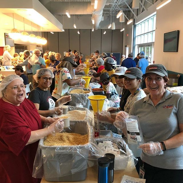 Packaging 15,000 meals for Ri - Bob Barker Co Office Photo