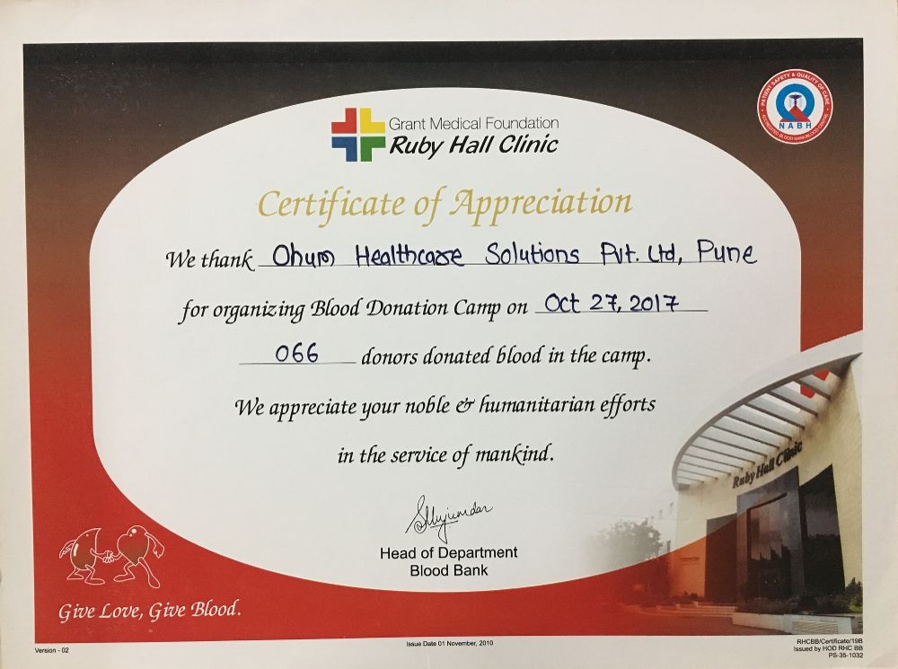 Certificate of Appreciation - - OHUM Healthcare Solutions Office