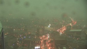 The view of the storm passing through Winnipeg from the 30th floor of 201 Portage Avenue