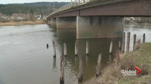 Water line bursts under Shuswap River