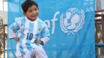 Young Afghan boy who wore Messi jersey made of plastic bag receives signed jersey