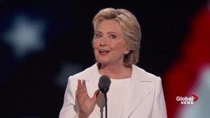 Hillary Clinton takes aim at Donald Trump's remarks on immigration at DNC