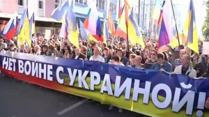 Russian opposition protests against escalating tensions in Ukraine