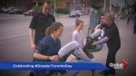New moms out for a stroll get surprise massage for #GreaterTorontoDay