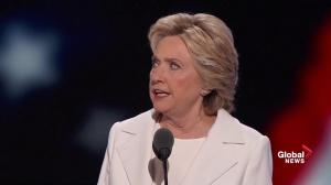 Democratic nominee for president Hillary Clinton runs down what she believes in at the DNC
