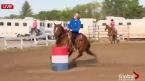 Jackie Wilson learns how to barrel race
