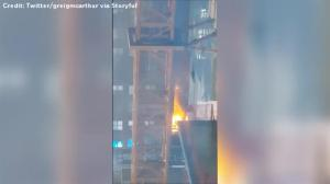 Amateur video captures skyscraper on fire in downtown Manhattan