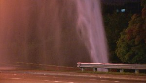 Brampton water main break erupts into geyser