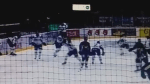 Former NHL enforcer Andre Deveaux viciously slashes opponent during pre-game warmups in Swedish league