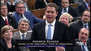 Andrew Scheer takes his first question as leader of the Opposition