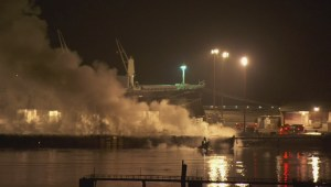 Raw: Fire crews contain Squamish Terminal fire Thursday evening