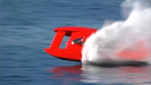 Footage of hydroplane flipping over on test run