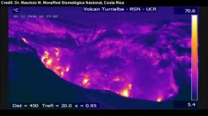 Infrared camera captures unique perspective of volcanic eruption in Costa Rica