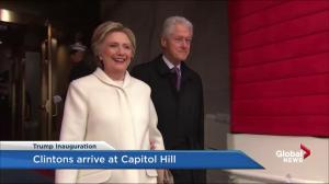 Trump inauguration: Hillary and Bill Clinton arrive to big ovation
