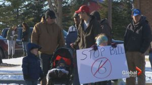Farmers and ranchers protest Bill 6 near Welling