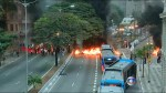 Brazilian protesters against presidential impeachment light tires on fire on major highways