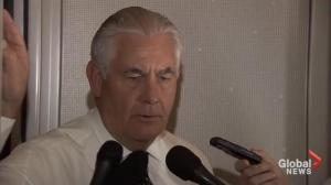 Rex Tillerson tells reporters that President Trump has crammed a lot into his overseas trip