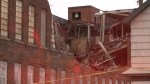 Buffalo building crumbles after being hit by strong winds
