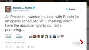 Trump defends sharing classified intel with Russians in series of tweets