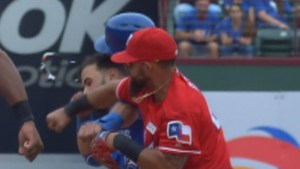 Jays' Jose Bautista punched in face by Rangers' Rougned Odor after slide, setting off brawl