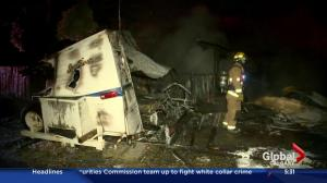 Northwest Calgary fire destroys garage and motor home