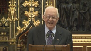 Ex-U.S. President Jimmy Carter upbeat and positive over cancer treatments