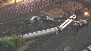 Aerial view of Amtrak train crash the morning after