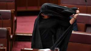 Australian far-right senator wears burka in parliament in effort to ban them