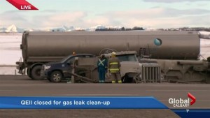 Semi hauling gasoline rolls on QEII Highway