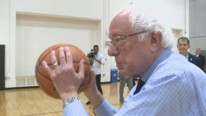 Bernie Sanders shows off his basketball skills during Indiana campaign stop