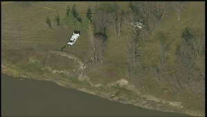 Global's Skyview-1 overhead after discovery of historic remains along riverbank