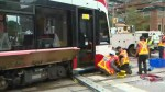 New TTC streetcar derails in downtown Toronto while pushing older streetcar