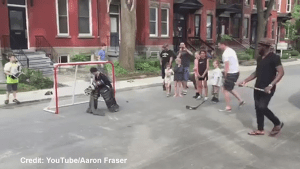 PK Subban crashes local street hockey game in Montreal