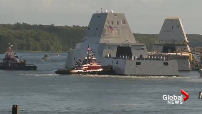 U S Navy S New Stealth Destroyer Heads Out From Maine National Globalnew