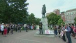 Hundreds gather at controversial Halifax statue to protest White Nationalists
