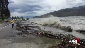 High winds, waves knock down retaining wall in Peachland